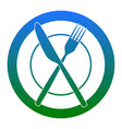 fork knife and plate sign  white icon in vector image