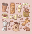 coffee hand drawn doodle with beans sugar vector image vector image
