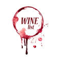 Watercolor emblem with wine stain vector image