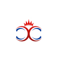 Crown double C abstract logo vector image