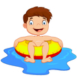 Cartoon Boy with inflatable ring vector image vector image