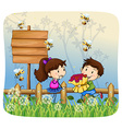 Boy giving flowers to girl vector image vector image