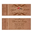 Ticket for Wedding Invitation with mustache and vector image