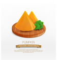 pumpkin slices lying on a wooden cutting board vector image