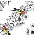 Exotic birds parrot with flowers colorful seamless vector image
