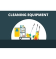 Flat trolley with accessories for cleaning vector image