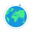 flying plane around the world the path plane vector image