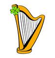 golden harp and clover icon icon cartoon vector image