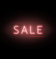 neon sale banner luminous light red type text vector image