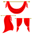 Red curtain vintage set on white background vector image