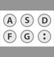 Typewriter keys asdfg vector image