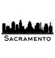 Sacramento City skyline black and white silhouette vector image vector image