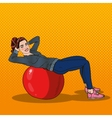 Pop Art Smiling Woman Exercising on Fitness Ball vector image