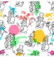 Sketching hand drawn style cute snow mans vector image