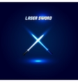 Isolated cossed light swords logo Futuristic vector image