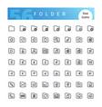 folder line icons set vector image