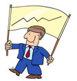 cartoon businessman and banner with chart vector image