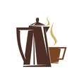 Coffee pot and steaming cup of coffee vector image