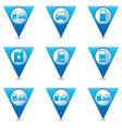 Set of 9 Transport BLUE triangular map pointer vector image vector image