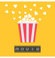 Popcorn Film strip Red yellow box Cinema movie vector image