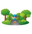boy skateboarding in the park vector image