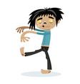 cute walking dead man character in cartoon style vector image