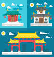 Flat design old chinese buildings vector image