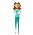 frowning doctor woman thumbs vector image