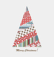 patchwork design of christmas tree vector image