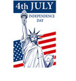 statue of liberty independence day vector image