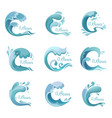 wave with dropsocean or sea liquid icons or signs vector image