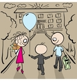 Parents accompany her son to school vector image