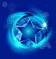 Star with blue background vector image