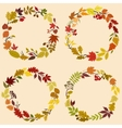 Wreaths of autumn leaves flowers and herbs vector image vector image