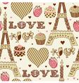Vintage Love Paris Pattern vector image