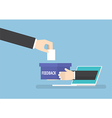Businessman hand with feedback box sticking out vector image