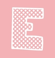 E alphabet letter with white polka dots on pink vector image