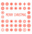 merry christmas text with snowflakes frame vector image