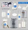 product milk on transparent background set vector image