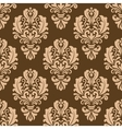 Repeat floral motifs on a brown background vector image