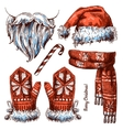Christmas hat scarf and mittens vector image