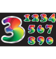 Colorful rainbow numbers set with silver frame vector image vector image