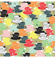 tea cups pattern background vector image vector image
