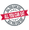 all you can eat red round grunge vintage ribbon vector image