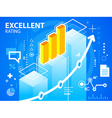 bright excellent rating and bar chart on blu vector image