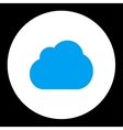 Cloud flat blue and white colors round button vector image