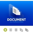 Document icon in different style vector image