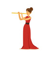 elegantly dressed female musician playing flute vector image