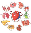 funny medical icons of organs heart lungs vector image
