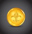 Golden coin with fleur de lis vector image
